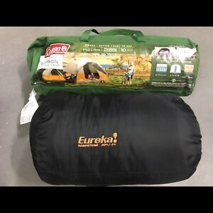 Used camping tent and sleeping bag