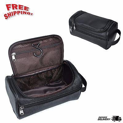 Black Mens Toiletry Travel Bag PU Leather Shaving Dopp Kit Travel Zipper Case