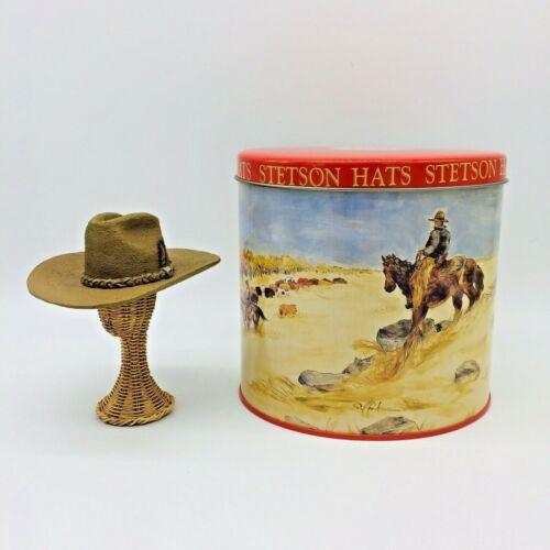 Vintage ceramic Stetson Hat Roper style Miniature, metal tin advertising box