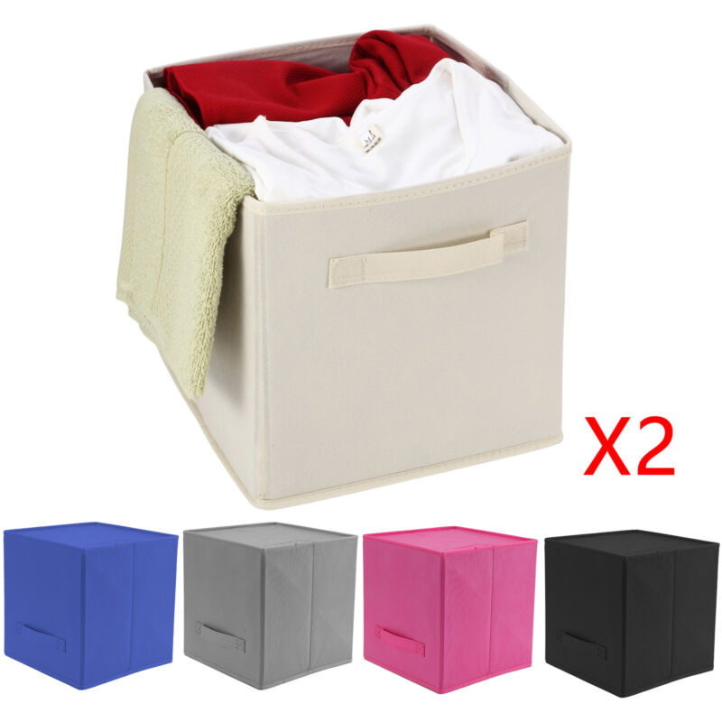 2 x foldable storage collapsible folding box room clothes organizer fabric cube ebay. Black Bedroom Furniture Sets. Home Design Ideas