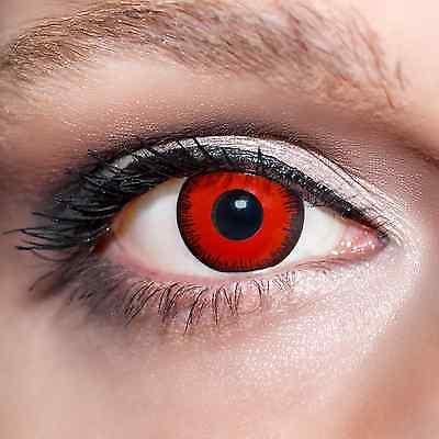 2 Rote Kontaktlinsen mit Behälter -Halloween- Vampiraugen, farbige Linsen;K512
