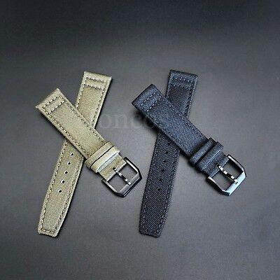 New Canvas Leather Strap Band 18mm Buckle for IWC Pilot Top Gun Pilot Portuguese