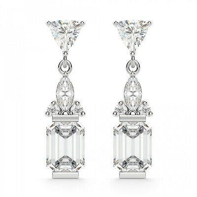 Five Diamond Long Dangler Earrings 2.48CT Emerald Cut 18K White Gold,Screw Back