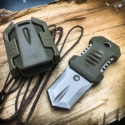 EDC Mini Pocket Shiv Neck Fixed Blade Knife Dagger Tactical Survival w/ Sheath