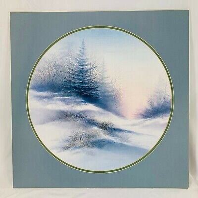 "Vintage Large Arnold Alaniz Winter Scene Round Print - 19 1/4"" Diameter"