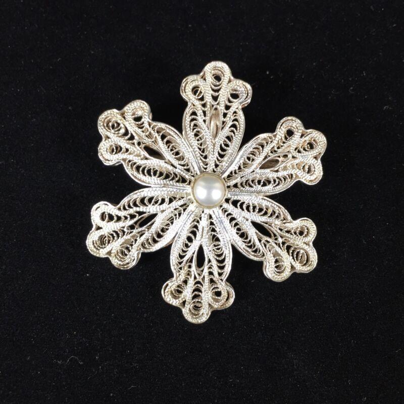 Sterling Silver BJ Filigree Brooch Ornate Lace Star Flower MOP Ornate Pendant