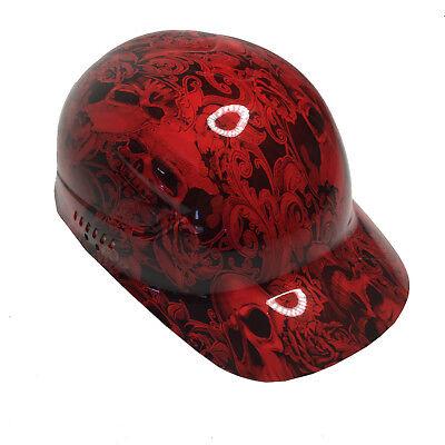 Hydro Dipped Bump Cap Red Filigree Skulls High Gloss W Free Brb Tshirt