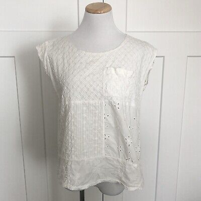 Anthropologie C Keer Womens Shirt Size Small Textured Eyelet Ivory Patchwork