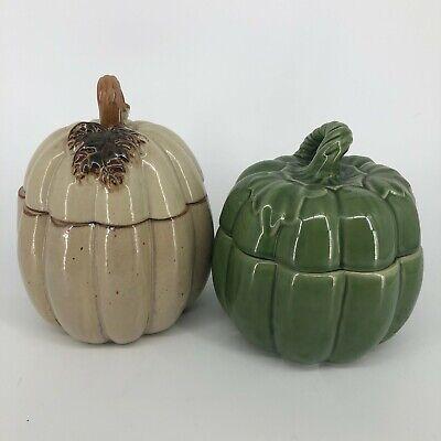 SET of 2 - Fall Autumn Harvest Thanksgiving Pumpkin Squash Ceramic Cookie Jars