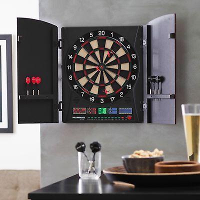Bullshooter Arachnid Electronic Dart Board Set Game Black Cabinet New