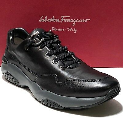 Ferragamo Gancini 10.5 Napa Leather Fashion Sneakers Men's Shoes Oxford FLUSHING