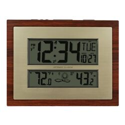 Clock with Forecast Decor Temperature Weather Indoor Outdoor Date Wall Atomic