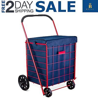Shopping Cart New Groceries Navy Blue Adjustable Straps Waterproof 18x15x24 Inch