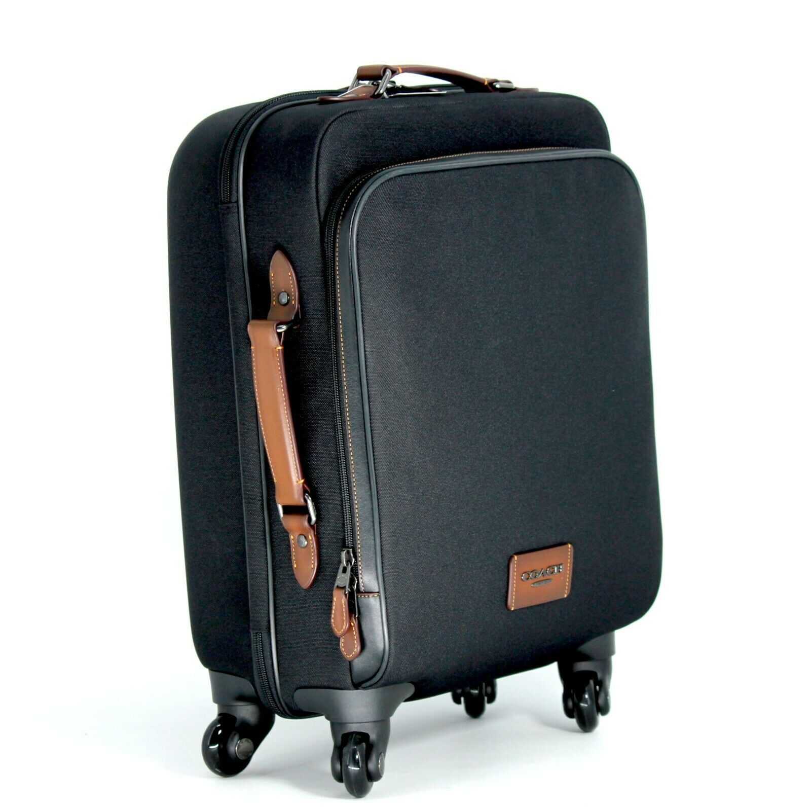 COACH Wheeled Carry On Black Fabric Leather Handles Zip Pock