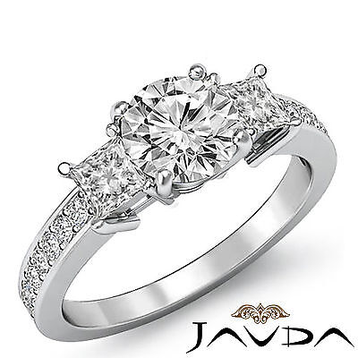 3 Stone Basket Style Round Diamond Engagement Pave Ring GIA G Color SI1 1.8Ct