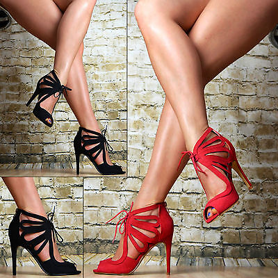 Luxus Damen Schuhe Party Sandalen High Heels Stilettos SeXy Rot Schwarz Riemchen High Stiletto Heel
