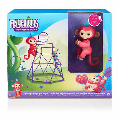 Wowwee Fingerlings Jungle Gym Playset   Aimee Interactive Coral Baby Monkey New