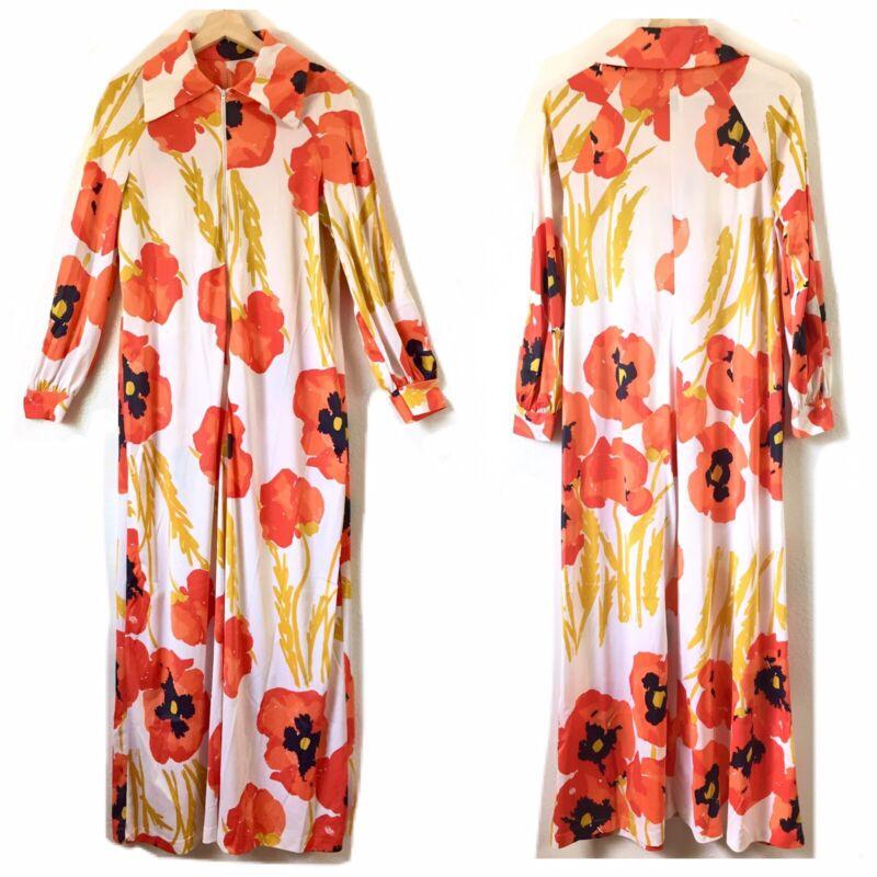 Vtg Vera Formfit Rogers Long L/S Orange Poppies Floral Dress Hippie Small Medium