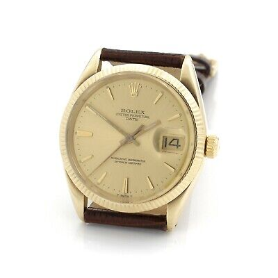 VINTAGE ROLEX OYSTER PERPETUAL DATE CHAMPAGNE DIAL 34MM WRIST WATCH #W2589-1