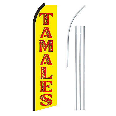 Tamales Yelred - Advertising Sign Swooper Feather Banner Flag Pole Only