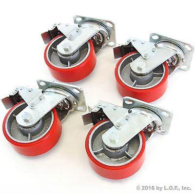 4 Red Brake Wheel Caster 5 Wheel All Swivel Heavy Duty Iron Hub No Mark Casters