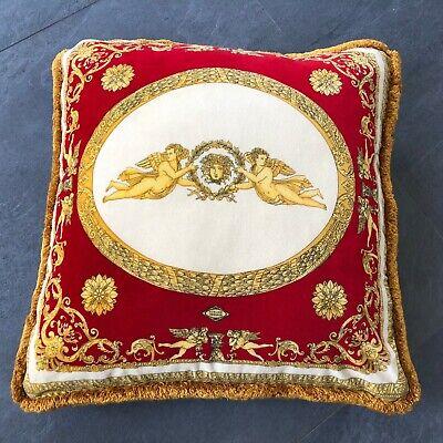 """vintage GIANNI VERSACE velvet fringed pillow Angels with Medusa print 25"""""""