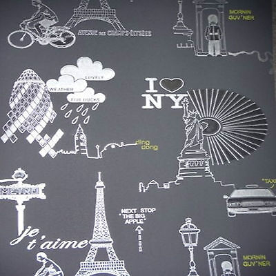 Stylish Wallpaper Featuring Landmarks Of Famous Cities/ London/Paris/New York