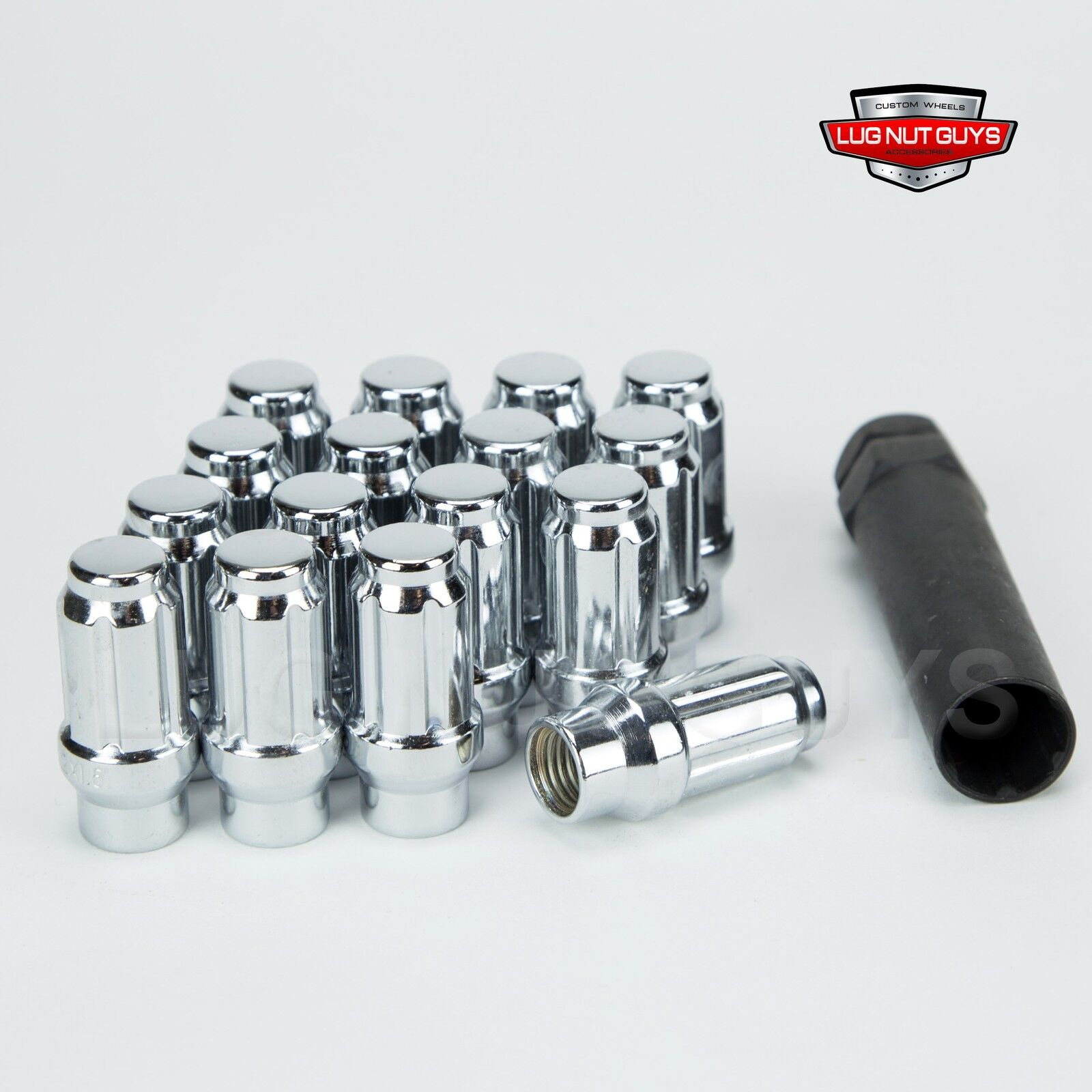 Wheel Accessories Parts Set of 20 Chrome Truck Spline M14x2.0 Bulge Acorn 1.9 Long Lug Nut Wheel Install Kit