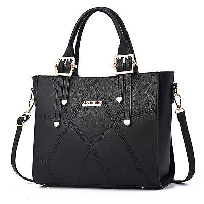 Schwarz Damentasche Leder Handtasche Shopper Cross Schultertasche Umhängetasche