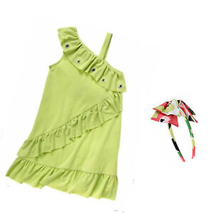 Gymboree Palm Beach Paradise Green Gem Ruffle Dress & Print Headband 6 8 9 New