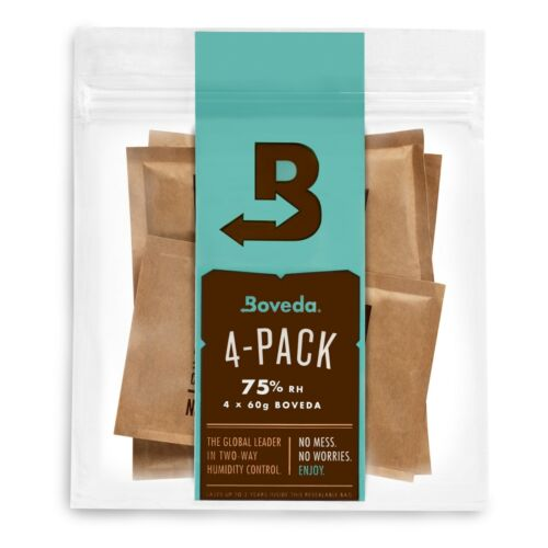 Boveda 75% RH 2-Way Humidity Control | Size 60 for Every 25 Cigars | 4-Count