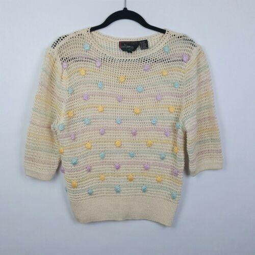 Vintage 80s Melissa Knits by Carol Patterson Embellished Pom Pom Sweater Sz 12