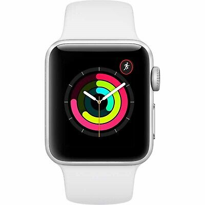 Apple Watch Series 3 GPS with White Sport Band 38mm Silver Model...
