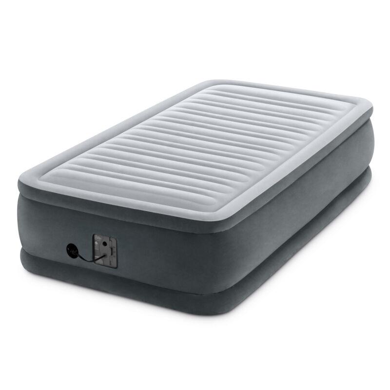 Intex Dura Beam Plus Series Comfort Plus Elevated Airbed w/ Built in Pump, Twin
