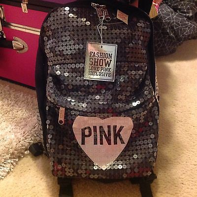 Victoria Secret Pink Backpack BLACK White HEART Sequin Bling Fashion Show NWT