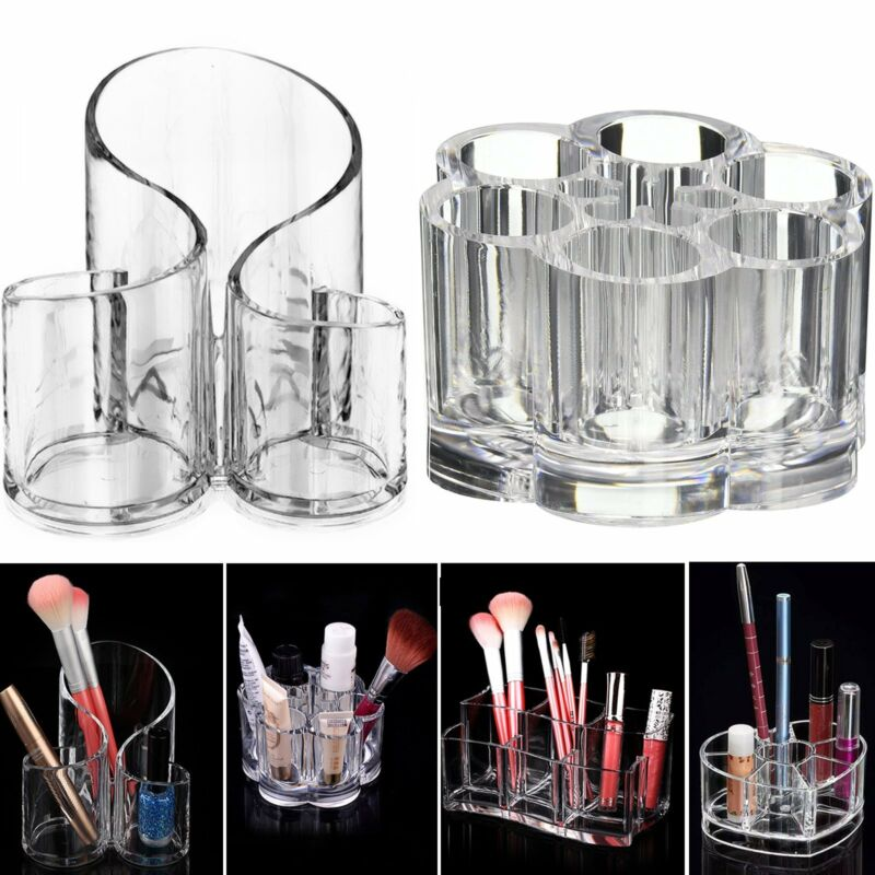 Clear Acrylic Makeup Cosmetic Organizer Brush Display Holder Storage Stand Box
