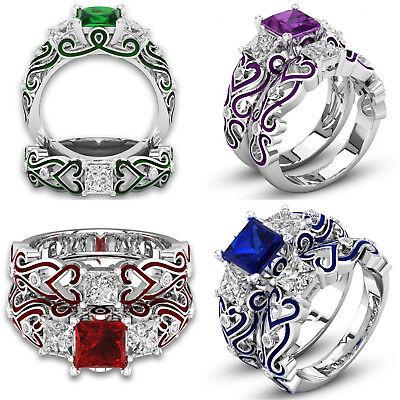 Women's White Gold Plate Princess Cut Cubic Zirconia Engagement Wedding Ring (Cubic Zirconia Princess Ring)