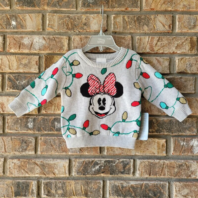 Disney Store Baby Minnie Mouse Christmas Lights Sweater Sz 9-12 Months Infant