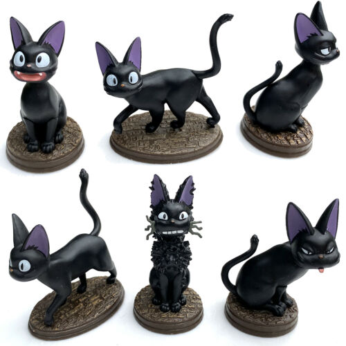 Set of 6 Japanese Cartoon Black Cats Playset Kitten Figurines Desktop Decoration