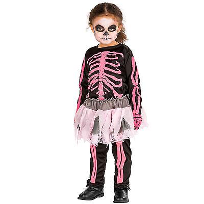 Skelett Kostüm Karneval Fasching Halloween Girlie Kinder (Halloween Skelett Mädchen)