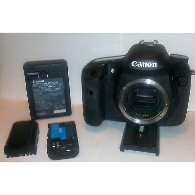 Canon EOS 7D 18.0MP Digital SLR Camera - Black (Body Only) Charger & 2 Batteries