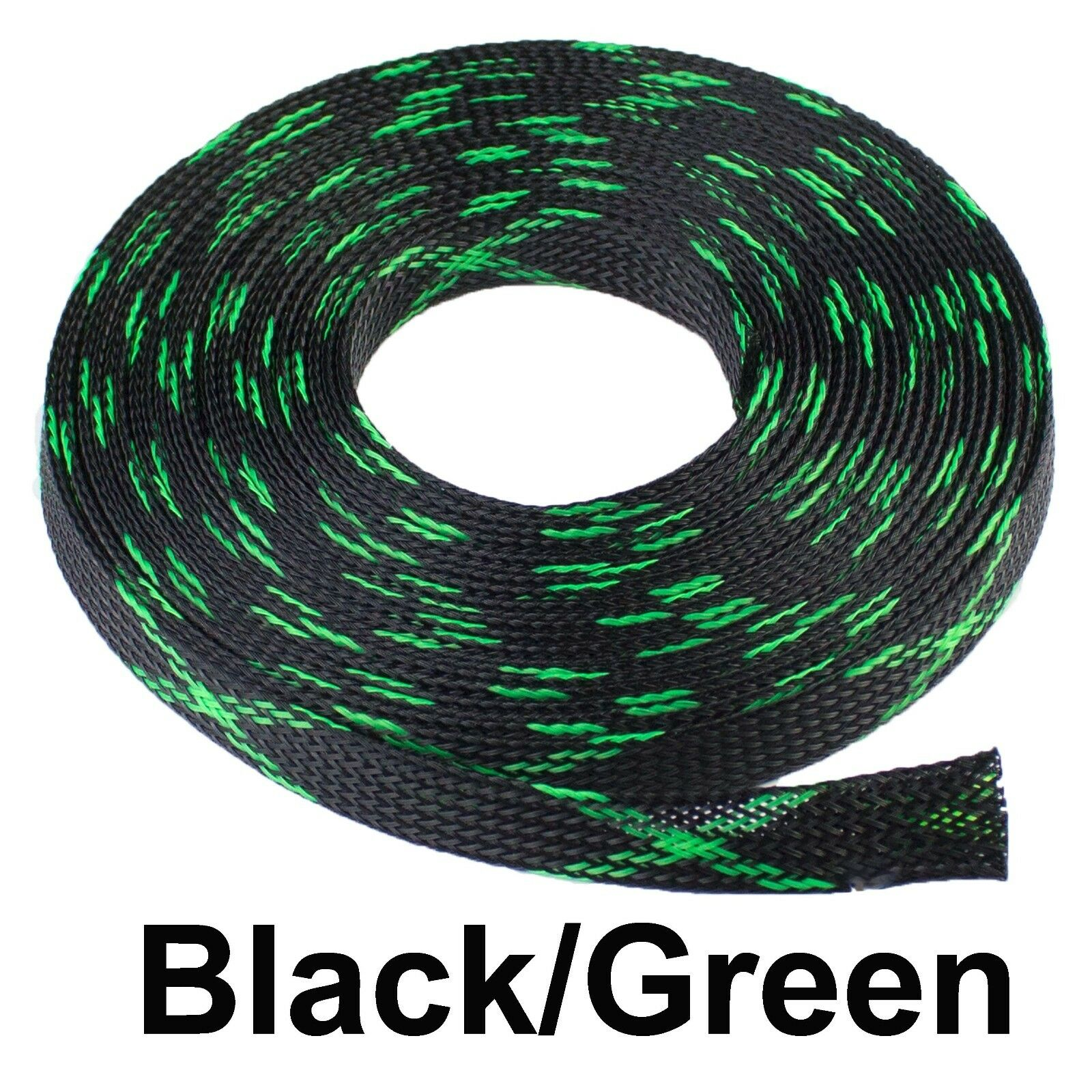 ALL SIZES & COLORS 5' FT - 100 Feet Expandable Cable Sleeving Braided Tubing LOT Black Green