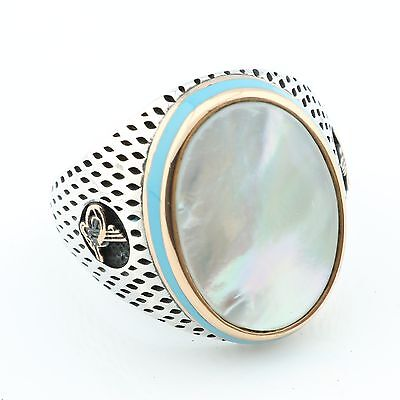 New! Unique Silver Mother of Pearl  Ottoman Men's Ring US Seller Best Gift (Best Mothers Of Pearl Rings)