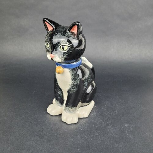 Vintage Cat Ceramic Creamer Pitcher Black Cat with Bell 2001 THT