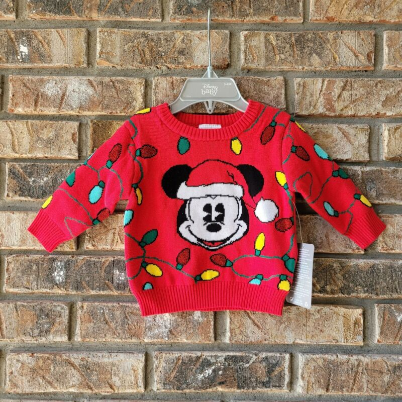 Disney Store Baby Mickey Mouse Christmas Lights Sweater Sz 3-6 Months Infant NEW