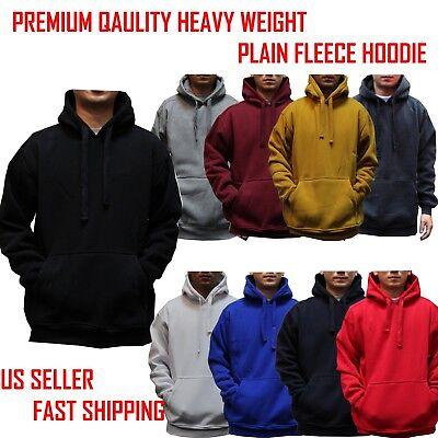 BIG AND TALL MEN Hooded Plain Black Sweatshirt Pullover Hoodie Fleece Blank -