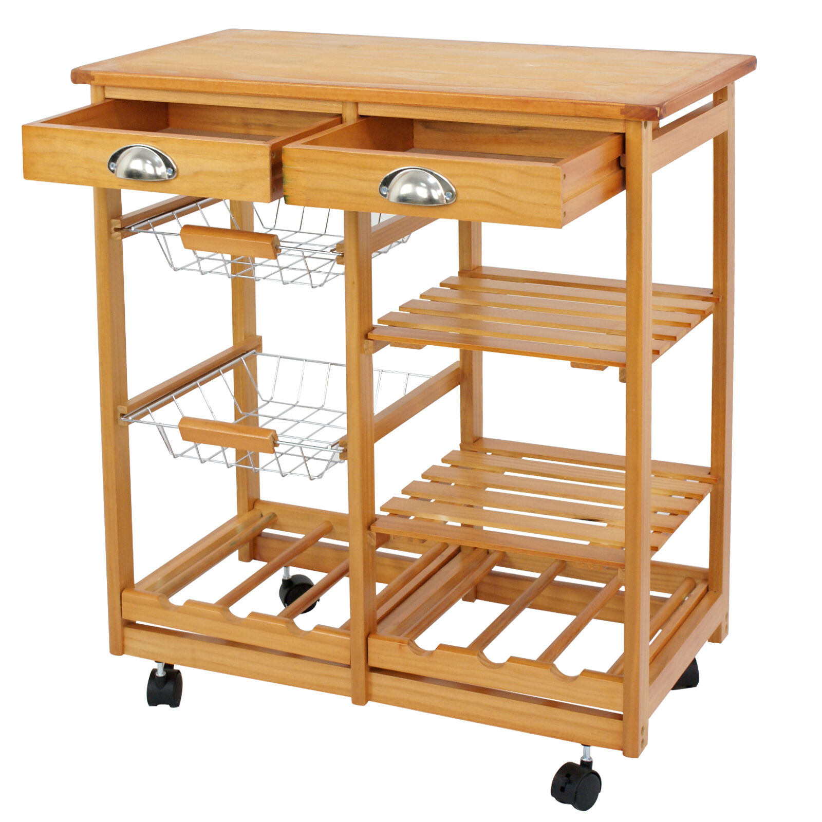 Dining Trolley Cart Rolling Wood Kitchen Island Storage Drawers Stand Durable Home & Garden