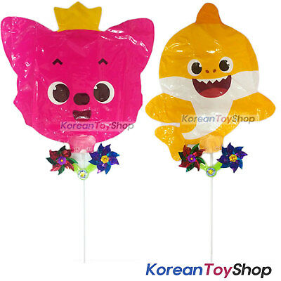 PINKFONG Balloons 2 pcs Set w/ Pinwheel Birthday Party Supplies Baby Shark, Fox (Shark Supplies)