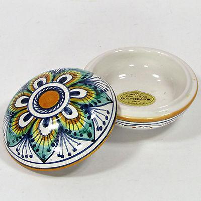 Paolo Ceramiche 3 5  Trinket Dish Italian Pottery Deruta Maioliche Peacock