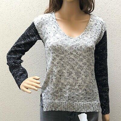 Black And White Confetti (Fate Black and White Confetti Hi Low Sweater V Neck Acrylic Spring Womens)